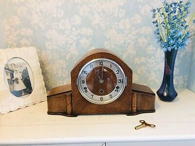Lovely Art Deco  Light Oak Westminster Chime Mantle Clock Fully Restored