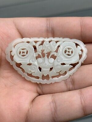 Beautiful Antique Chinese White Jade Butterfly with Great Carving Qing