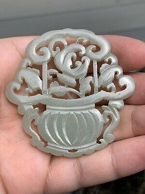 Lovely Antique Chinese White Jade Pendant with Flowers Fine Carving NO RESERVE!!