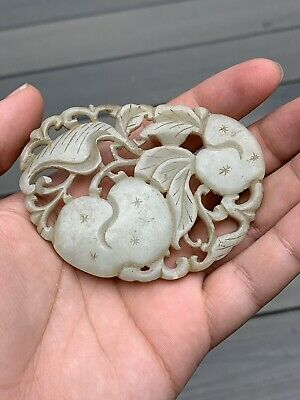 Outstanding Antique Chinese White Jade Plaque of Peaches Fine Carving Qing