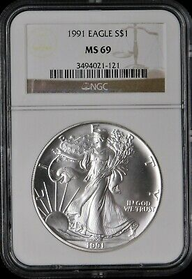 1991 Silver American Eagle - NGC MS69 !!