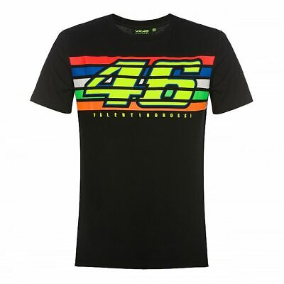 Valentino Rossi VR46 Moto GP Logo Stripes Black T-shirt Official 2019