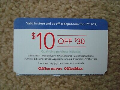 Office Depot 10 off 30 qualifying purchase online coupon, Exp 07/31/2019