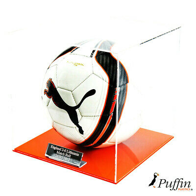 Perspex Football display case - Orange base
