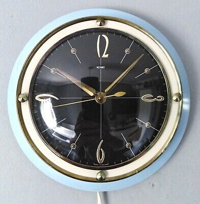 Great rare vintage retro mid-century 1960s Metamec Blue electric Wall Clock