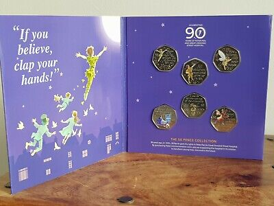 Peter Pan 50p Coin Set + Col Decal collection NEW MINT 50 p Coin