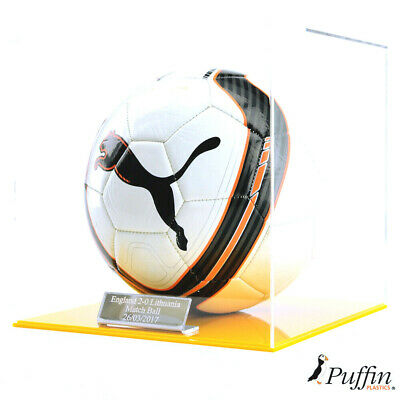 Perspex Football display case - Yellow base