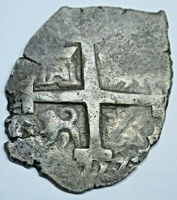 1727 Spanish Lima Silver 1 Reales Piece of 8 Real Old Pirate Treasure Cob Coin