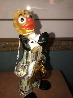 VINTAGE  Murano ITALY Art Glass CLOWN Venetian RARE Irridescent figurine