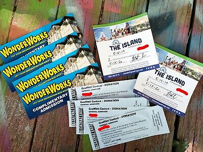 4 EACH! Pigeon Forge TN Tickets - The Island, WonderWorks, and Alcatraz East