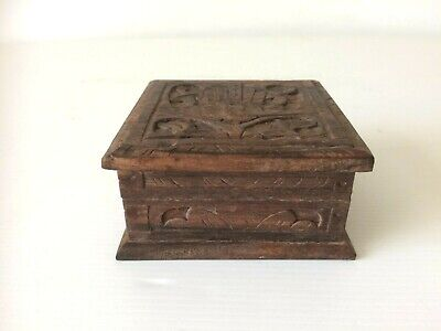 Vintage Small Carved Wooden Box