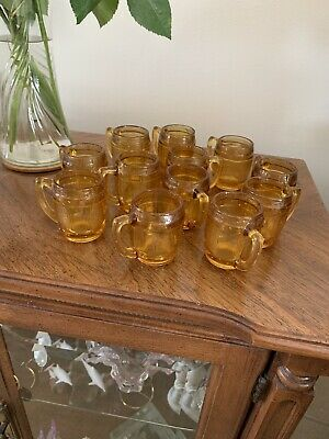 Vintage Amber Clear Mini Mugs Shot Glass Beer Barrel Toothpick Holder Set Of 12
