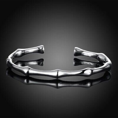 Trendy Women Hot 925 Sterling Silver Bangle Bamboo Joint Opening Cuff Bracelet t