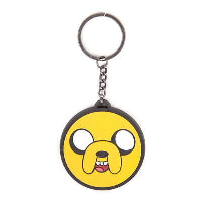 Adventure Time Unisex Jake Face Rubber Keychain, One Size, Multi-Colour