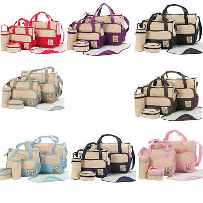 5pcs Baby Nappy Changing Bag Set Diaper Bags Shoulder Handbag Mommy Bag Newborn1