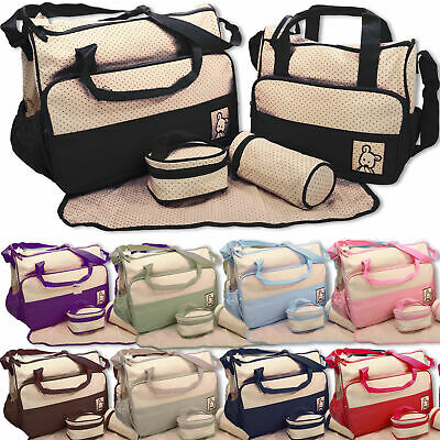 5pcs Baby Nappy Changing Bag Set Diaper Bags Shoulder Handbag Mommy Bag Newborn2