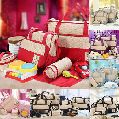 5pcs Baby Nappy Changing Bag Set Diaper Bags Shoulder Handbag Mommy Bag Newborn5