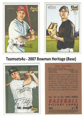 2007 Bowman Heritage (Base) Baseball Set ** Pick Your Team ** See Checklist