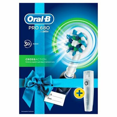 Oral-B 3D White Pro 680 Rechargeable Electric Toothbrush in Black + Travel Case