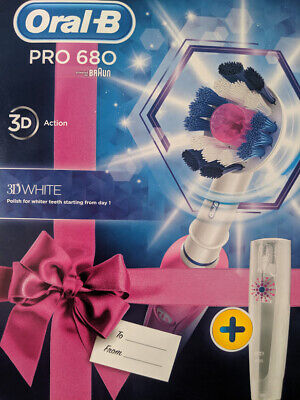 Oral-B 3D White Pro 680 Rechargeable Electric Toothbrush in Pink+ Travel Case