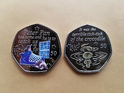 Peter Pan 50 p coin - Wendy & Nanna + Crocodile 2019 Coins MINT NEW + decal
