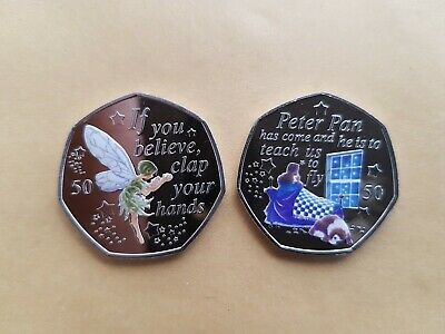 Peter Pan 50 p coin - Tinkerbell + Wendy & Nanna 2019 Coins MINT NEW + decal