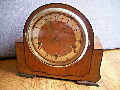 Antique 1930's Art Deco Enfield Inlaid Oak Mantel Clock with Westminster Chime