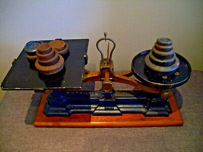 Antique Cast Iron W&T Avery Weighing Scales on Wooden Plinth with Set of Weights