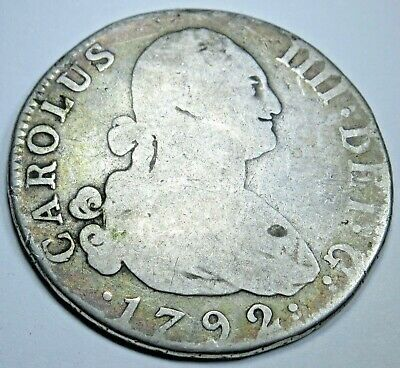 1792 Spanish Silver 4 Reales Piece of 8 Real Colonial Era Pirate Treasure Coin