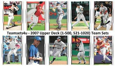 2007 Upper Deck (1-500 & 521-1020) Baseball Set ** Pick Your Team **