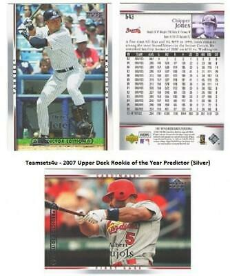 2007 Upper Deck Rookie of the Year Predictor (Silver) Sets ** Pick your Team **