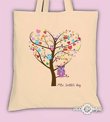 PERSONALISED Tote Bag Thank You Teacher School Gift 2019 Heart Tree Natural