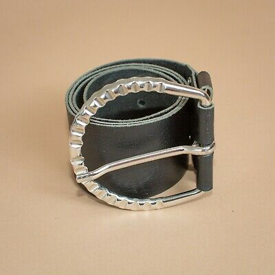 Cuir Wide Black Leather Waist Belt Silver Buckle Vintage Women's Small Medium
