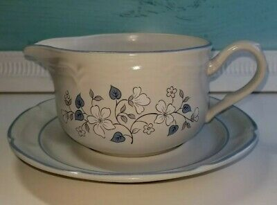 The Covington Edition AVONDALE Gravy Boat and Under-plate Saucer-Blue Flowers