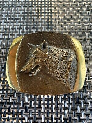 Vintage 1978 Solid Bronze Wolf Belt Buckle By Steven L Knight Sculpture Inc