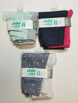 Carter's Child of Mine Baby Girls Cotton Pants *3 PACK* 6 Pairs Total NB - 6 M