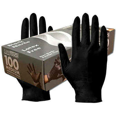 100x Black Nitrile Medical Virus Protective Gloves Latex & Powder Free S/M/L/XL