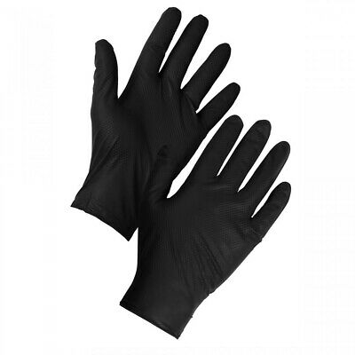 SuperTouch Black Disposable Nitrile Diamond Ambidextrous Texture Grip Gloves