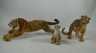 Siberian Tiger Family 3 Figures Pouncing Male Female Cub Safari Toy LOT Rubber