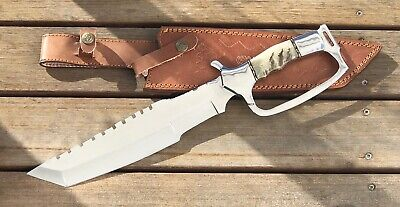 CUTLERY RARE CUSTOM D2 MIRROR POLISHED BOWIE KNIFE STAG HANDLE 16 Inches