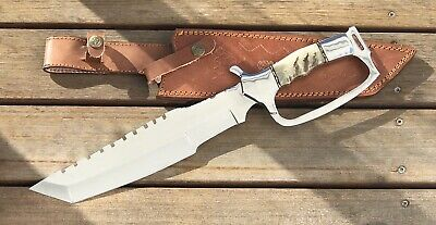CUTLERY RARE CUSTOM MIRROR POLISHED BOWIE KNIFE STAG HANDLE 16 Inches