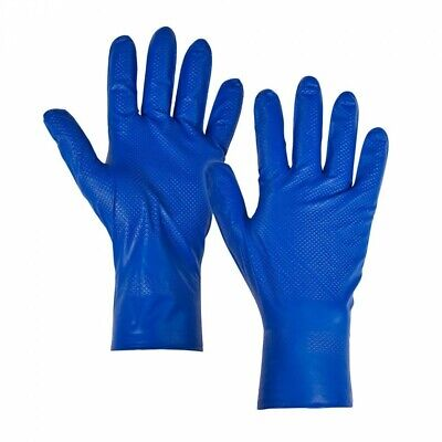 50pk Blue Disposable Nitrile Fish Scale Ambidextrous Texture Grip Strong Gloves