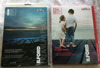 Ilford Photo Paper LOT of 2 Sealed Premium Pearl & Glossy 70 Sheets Inkjet Print