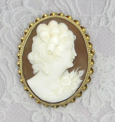 Vtg 14k Solid Yellow Gold Shell Carved Cameo Brooch/Pendant Twist Bezel Frame