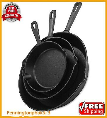 Utopia Kitchen Pre-Seasoned Cast Iron Skillet Set 3-Piece -...-- FREE 2 Day Shi