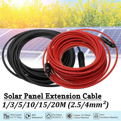 2Pcs Black+Red Solar Panel Extension Cable Wire MC4 Connector 10/12 AWG