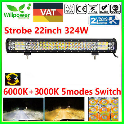 22inch 7D 324W SUV ATV truck off road Car White Amber Dual Color Led Light Bar