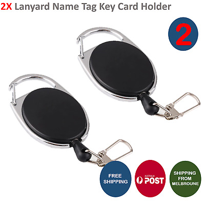 2x Retractable Reel ID Badge Lanyard Name Tag Key Card Holder Belt Clip AU