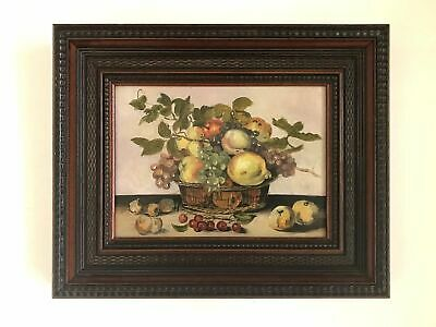 Antique French Framed Oil Still Life Painting of a Basket of Fruit