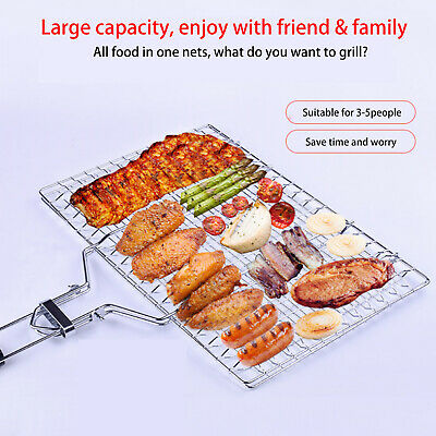 BBQ Grill Basket Foldable Barbecue Meat Fish Vegetable Stainless Steel Holder